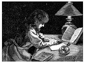 Antique old French engraving illustration: Writing at night