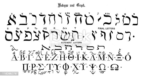 istock Antique original typescript font alphabet: Hebrew and Greek 1182662797