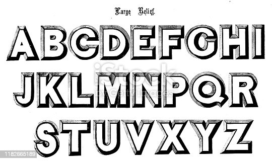 Antique original typescript font alphabet: Large Relief