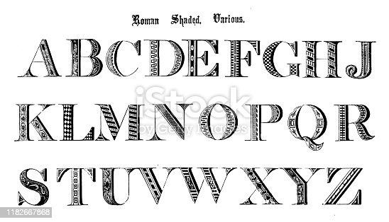 Antique original typescript font alphabet: Roman Shaded, Various