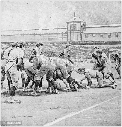 Antique painting illustration: American Football