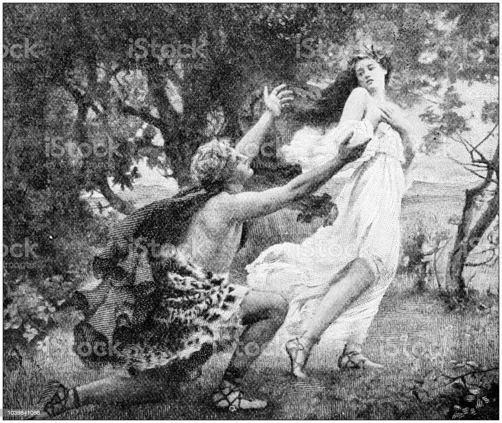 Antique Painting Illustration Apollo And Daphne Stock