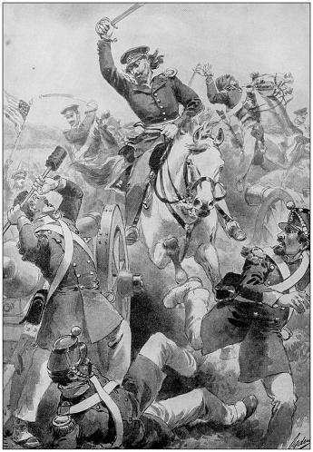 Antique painting illustration: Battle at Resaca de la Palma