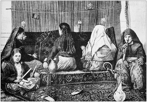 Antique painting illustration: Carpet weaving in Middle East