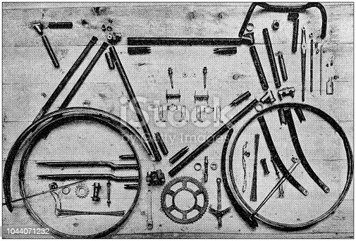 Antique painting illustration: Disassembled bicycle