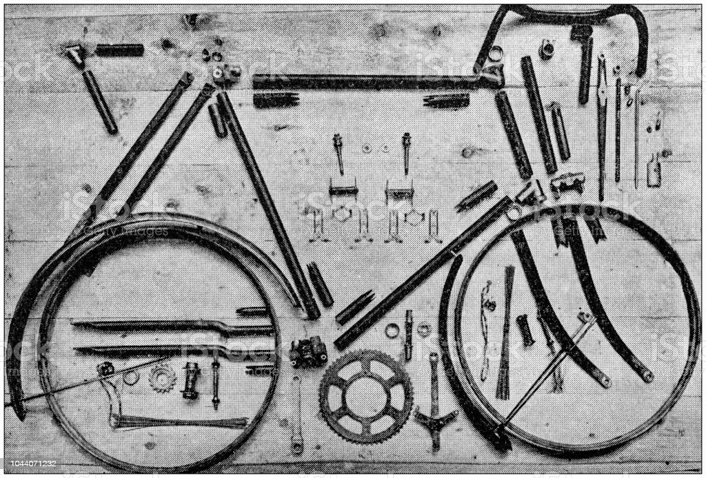 Antique painting illustration: Disassembled bicycle vector art illustration
