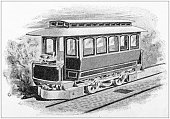 Antique painting illustration: electric train