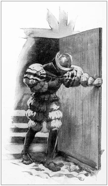 ilustrações de stock, clip art, desenhos animados e ícones de antique painting illustration: injured man - mão no peito