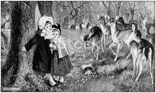 Antique painting illustration: Little girls and fawns