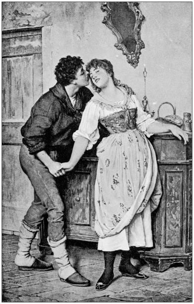 antique painting illustration: lovers - romance stock illustrations, clip art, cartoons, & icons