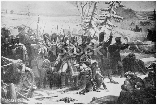 Antique painting illustration: Marshal Ney retreating from Russia