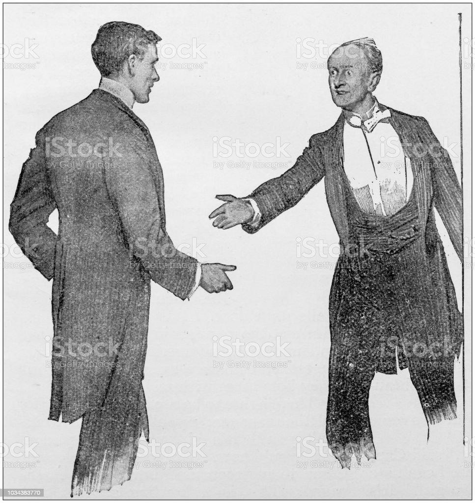 Stock image of 19th century gentleman shaking hands
