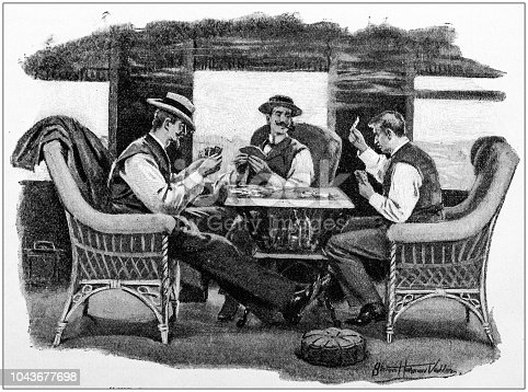 Antique painting illustration: Playing cards