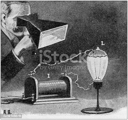 Antique painting illustration: Rontgen apparatus