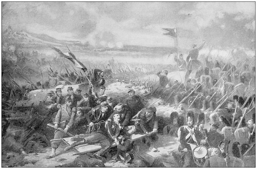 Antique painting illustration: Wounding of General Bosquet