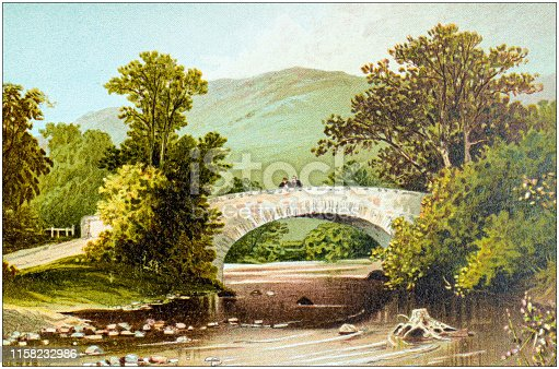 Antique painting of Scotland cities, lakes and mountains: Brig of Turk