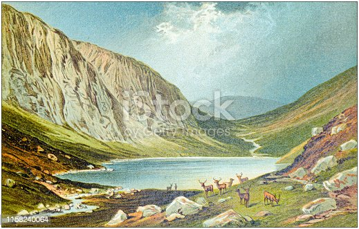 Antique painting of Scotland cities, lakes and mountains: Dhu Loch, Loch Na Gar