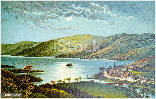 Antique painting of Scotland cities, lakes and mountains: Loch Earn and St Fillans