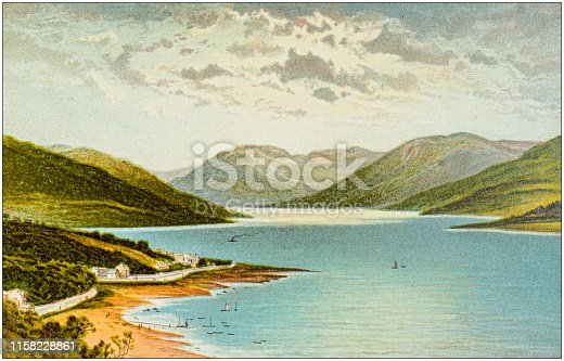 Antique painting of Scotland cities, lakes and mountains: Loch Striven