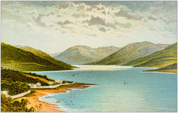 Antique painting of Scotland cities, lakes and mountains: Loch Striven Antique painting of Scotland cities, lakes and mountains: Loch Striven lakeshore stock illustrations