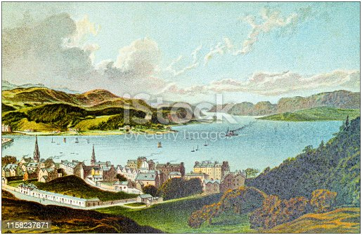Antique painting of Scotland cities, lakes and mountains: Oban Bay and Sound of Kerrera