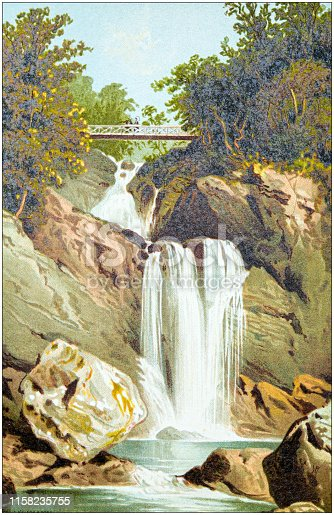 Antique painting of Scotland cities, lakes and mountains: Waterfall at Inversnaid, Loch Lomond