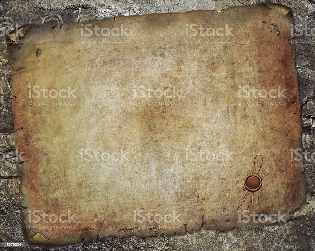Antique paper scroll on the wall vector art illustration