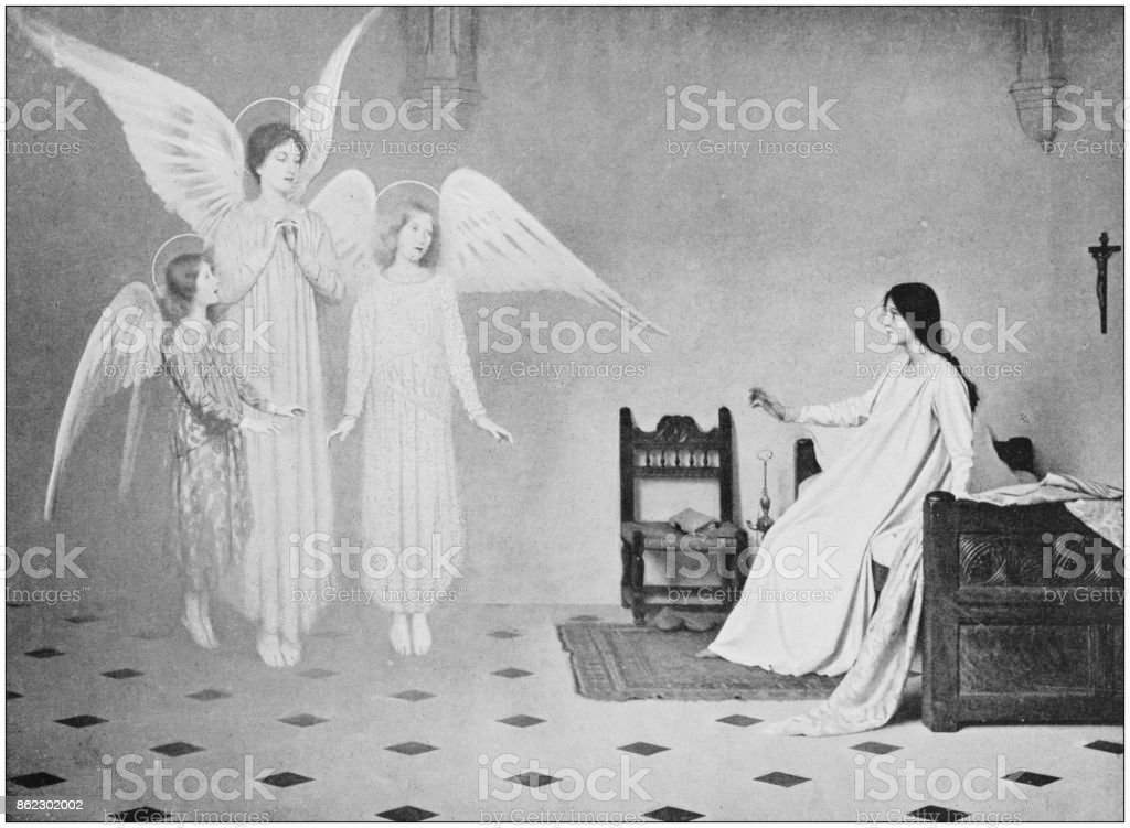 Antique photo of paintings: Angels vector art illustration