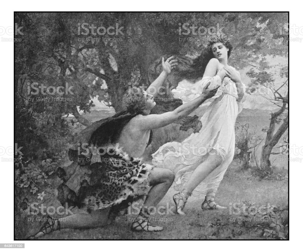 Antique photo of paintings: Apollo and Daphne vector art illustration