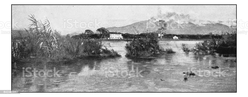 Antique photo of paintings: Arno Flood vector art illustration