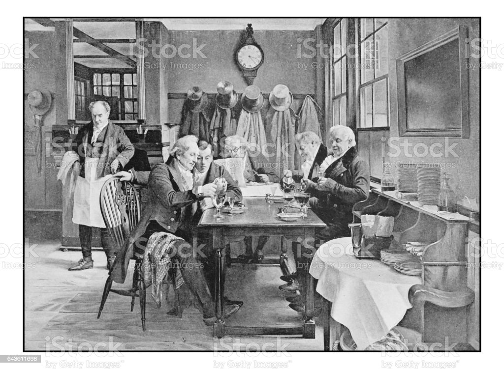Antique photo of paintings: At the restaurant vector art illustration