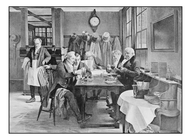 antique photo of paintings: at the restaurant - old man photo pictures stock illustrations, clip art, cartoons, & icons