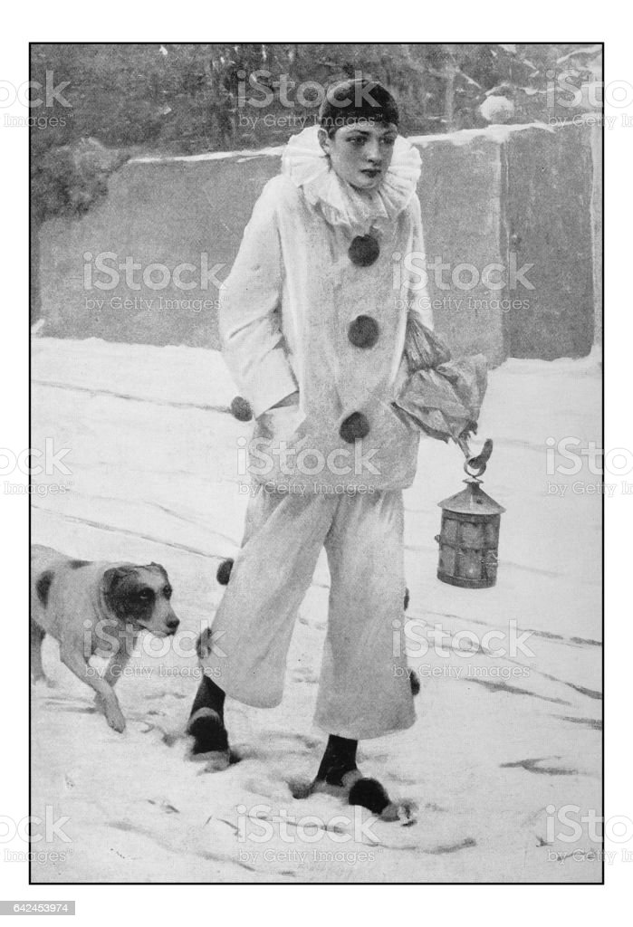 Antique photo of paintings: Boy with Pierrot costume vector art illustration