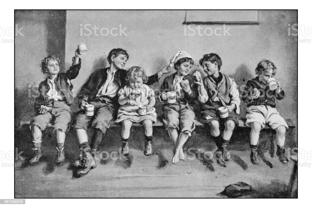 Antique photo of paintings: Children eating vector art illustration