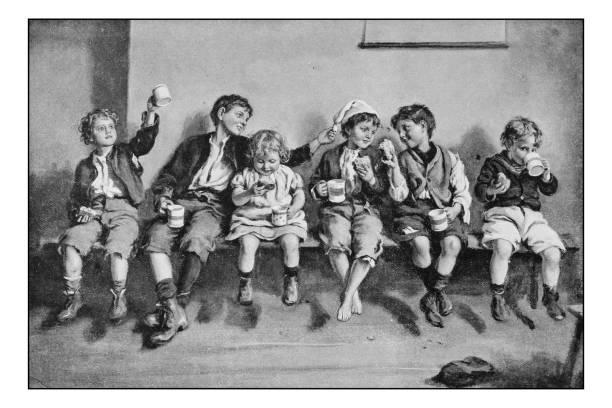 Antique photo of paintings: Children eating vector art illustration