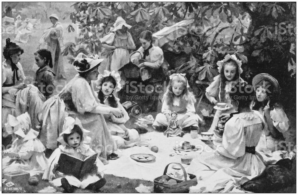 Antique photo of paintings: Children's picnic vector art illustration