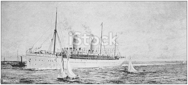 Antique dotprinted photo of paintings: Cruise ship