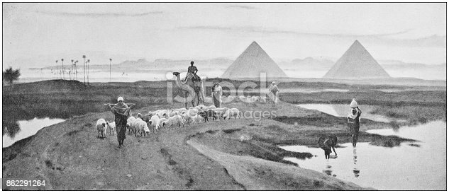 Antique dotprinted photo of paintings: Egypt