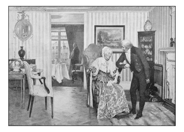 antique photo of paintings: elderly couple - old man picture pictures stock illustrations, clip art, cartoons, & icons