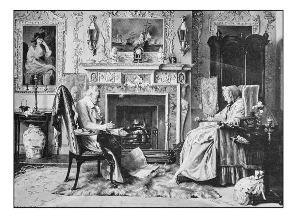 antique photo of paintings: elderly couple - old man photo pictures stock illustrations, clip art, cartoons, & icons
