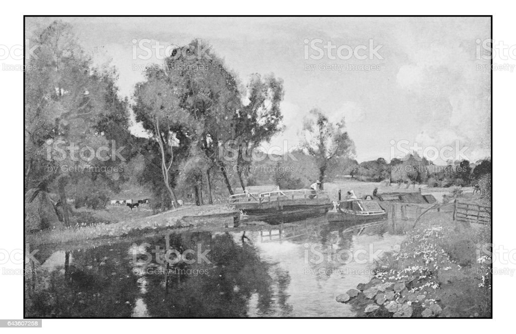 Antique photo of paintings: England's canals vector art illustration