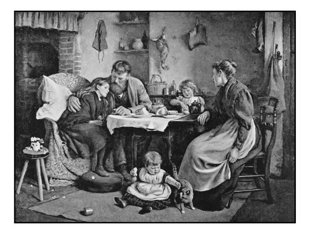 Antique photo de peintures: famille à l'intérieur - Illustration vectorielle