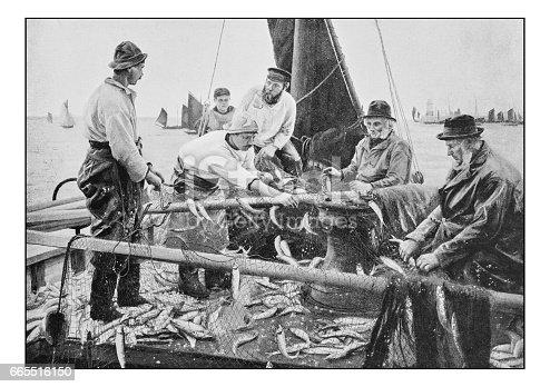 Antique dotprinted photo of paintings: Fishermen