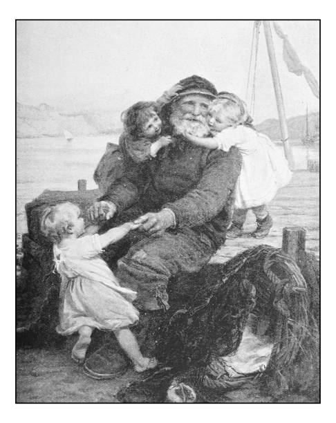 antique photo of paintings: grandpa fisherman - old man picture pictures stock illustrations, clip art, cartoons, & icons