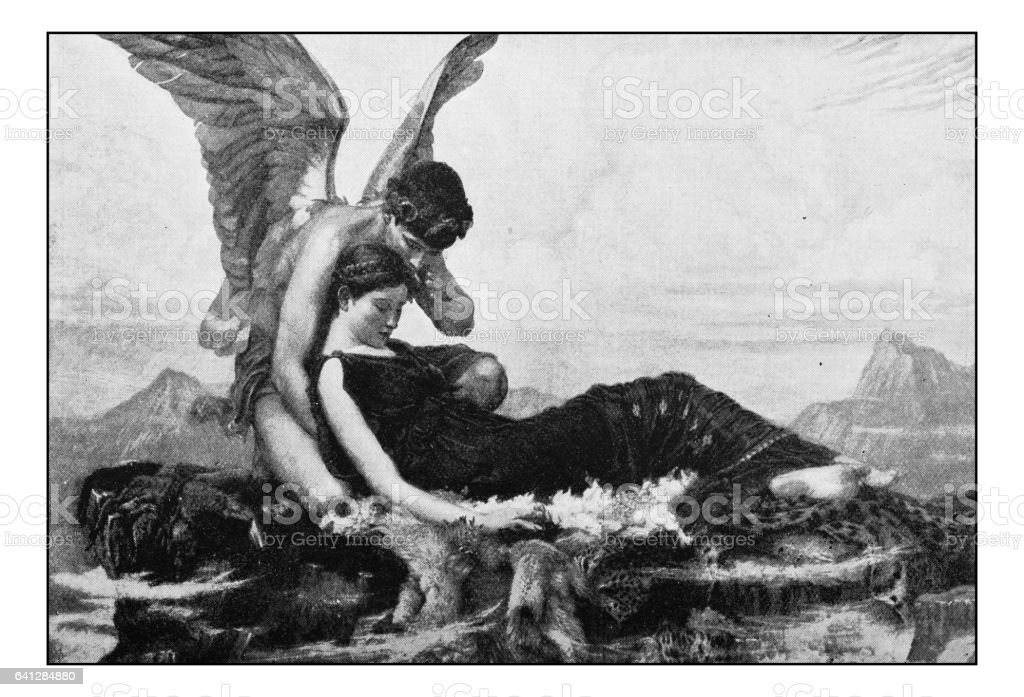 Antique photo of paintings: In the arms of Morpheus vector art illustration