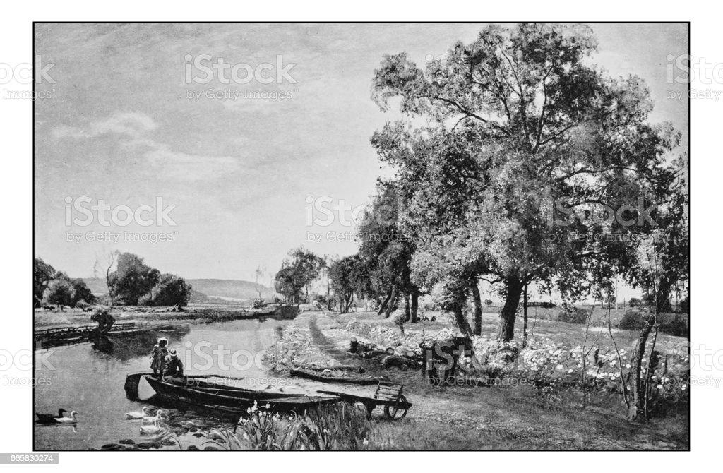 Antique photo of paintings: Landscape vector art illustration