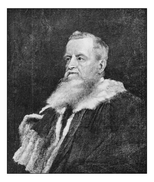 antique photo of paintings: man portrait - old man portrait pic stock illustrations, clip art, cartoons, & icons
