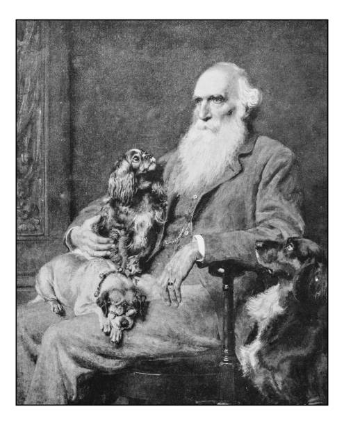 antique photo of paintings: man with dogs - old man photo pictures stock illustrations, clip art, cartoons, & icons