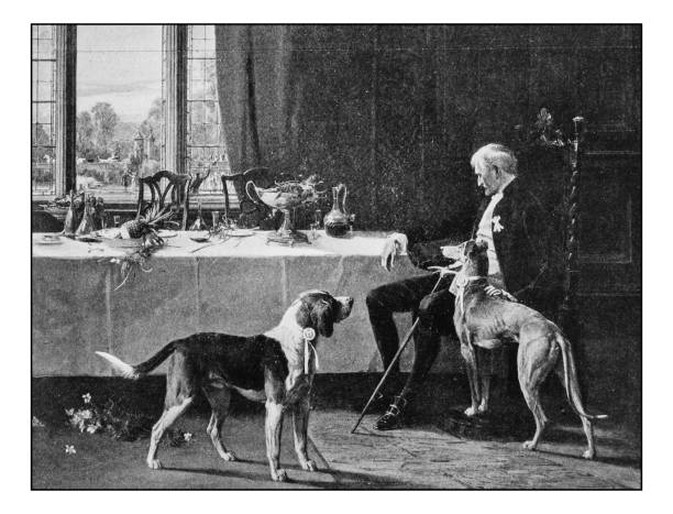 antique photo of paintings: man with dogs - old man illustration pictures stock illustrations, clip art, cartoons, & icons