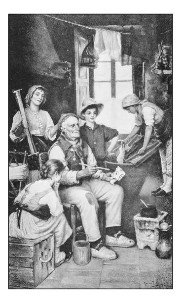 antique photo of paintings: mask painter artist - old man portrait pic stock illustrations, clip art, cartoons, & icons